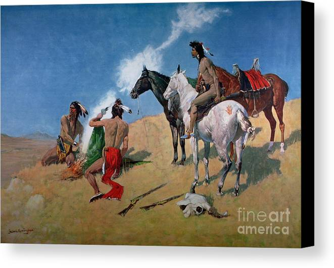 Smoke Signals (oil On Canvas) By Frederic Remington (1861-1909) Remington Canvas Print featuring the painting Smoke Signals by Frederic Remington