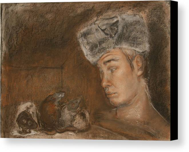 Charcoal Canvas Print featuring the painting Stanislav And 4 by Danielle Wilbert