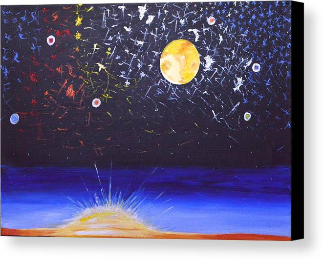 Sun Canvas Print featuring the painting Sun Moon And Stars by Donna Blossom
