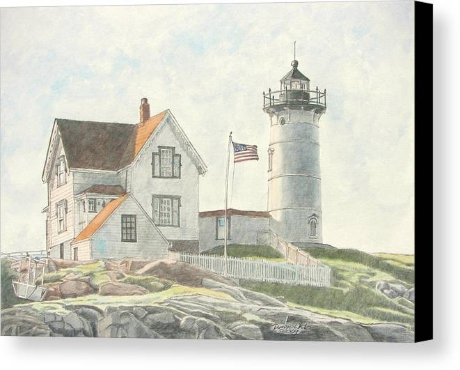Watercolor Canvas Print featuring the painting Sunrise At Nubble Light by Dominic White