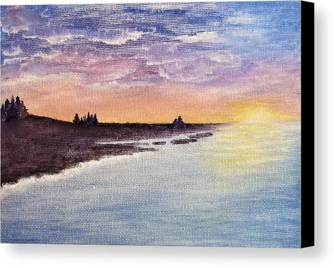 Sunset And Sea Clouds Watercolour On Canvas Board Canvas Print featuring the painting Sunset On The Beach by Julie Jones