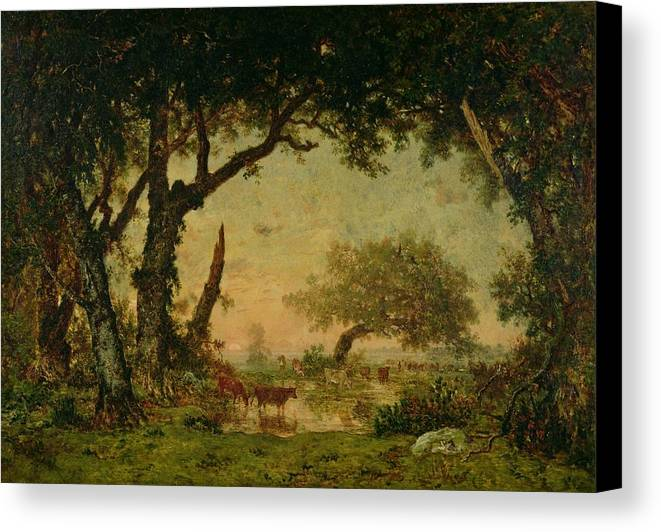 The Canvas Print featuring the painting The Edge Of The Forest At Fontainebleau by Theodore Rousseau