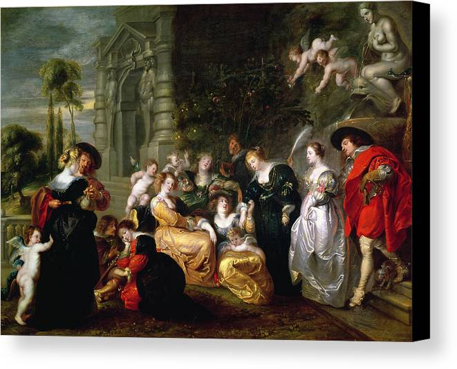 The Canvas Print featuring the painting The Garden Of Love by Peter Paul Rubens