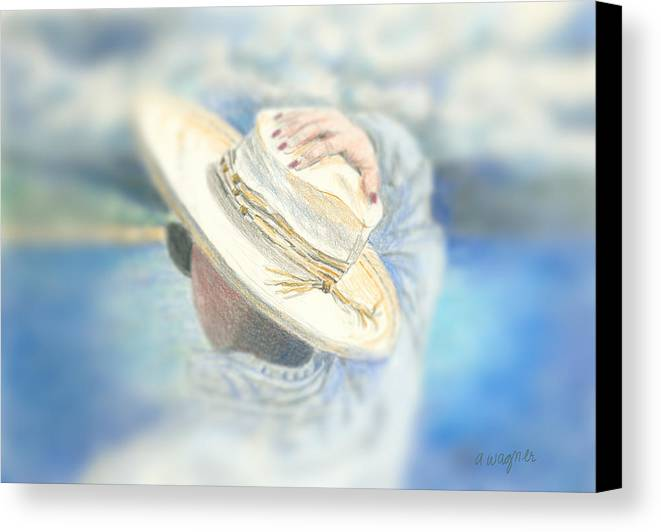 Hat Canvas Print featuring the mixed media The Hat by Arline Wagner