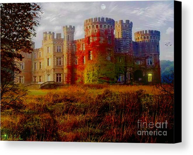 Castle Canvas Print featuring the digital art The Haunted Castle by Michael Rucker