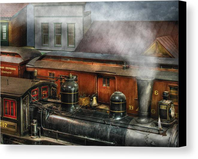 Savad Canvas Print featuring the photograph Train - Yard - The Train Yard II by Mike Savad