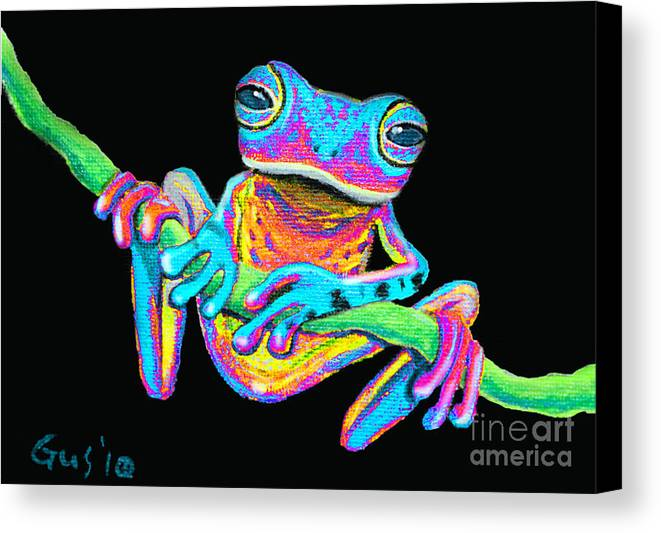 A Colorful Rainbow Frog On A Vine Canvas Print featuring the painting Tropical Rainbow Frog On A Vine by Nick Gustafson