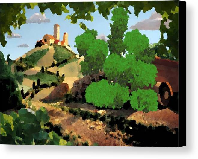 Village Old Road.trees.bushes.hill.littlt Tower.houses.farm.sky.clouds Canvas Print featuring the digital art Village. Tower On The Hill by Dr Loifer Vladimir