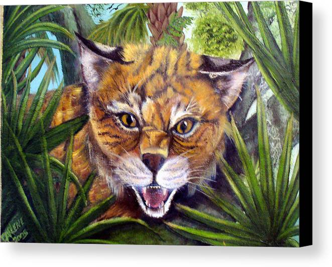 Bobcat Canvas Print featuring the painting Watching Florida Bobcat by Darlene Green