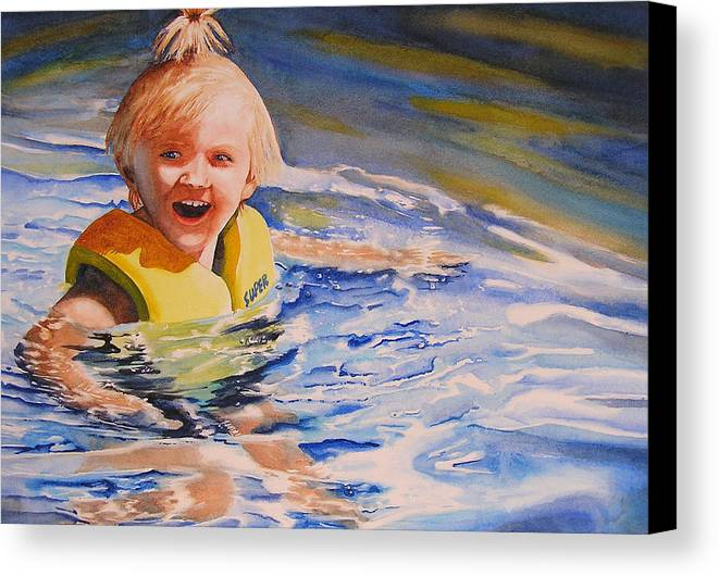 Swimming Canvas Print featuring the painting Water Baby by Karen Stark