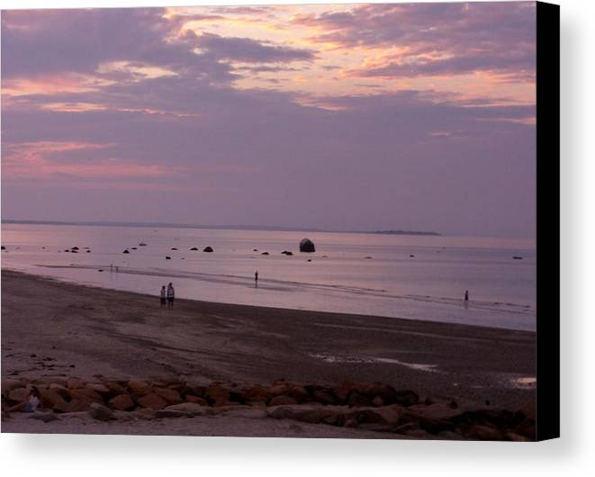 Sunset Canvas Print featuring the photograph Whitehorse Beach - Sunset by Nancy Ferrier