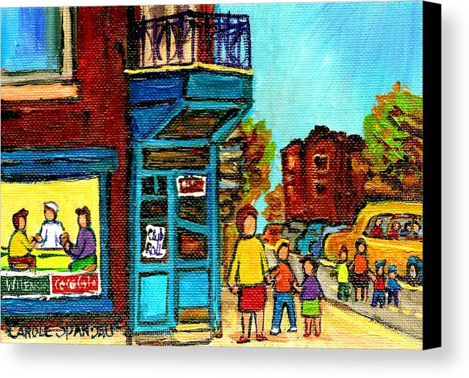 Montreal Canvas Print featuring the painting Wilensky's Counter With School Bus Montreal Street Scene by Carole Spandau