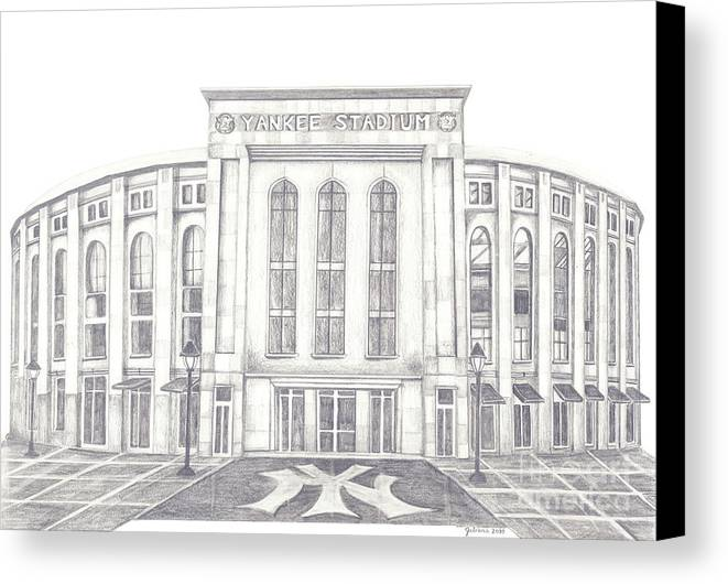 Yankee Stadium Canvas Print featuring the drawing Yankee Stadium by Juliana Dube