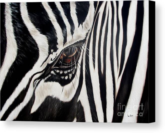 Zebra Canvas Print featuring the painting Zebra Eye by Ilse Kleyn