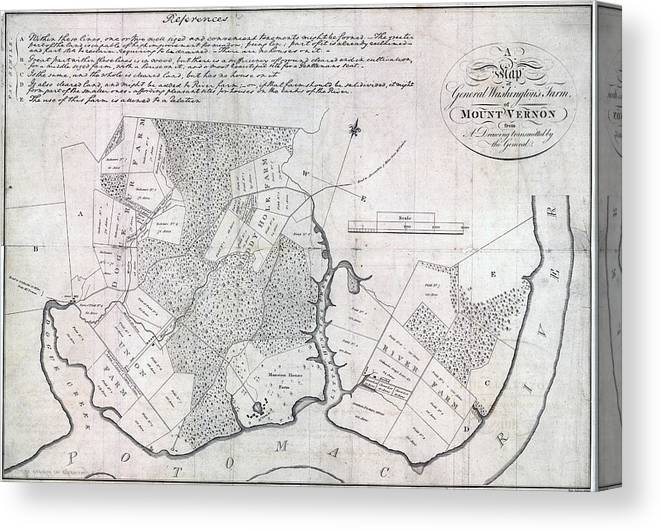 1790s Canvas Print featuring the photograph A Map Of General Washingtons Farm by Everett