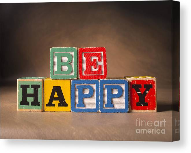 Be Happy Canvas Print featuring the photograph Be Happy - Jabberblocks by Art Whitton