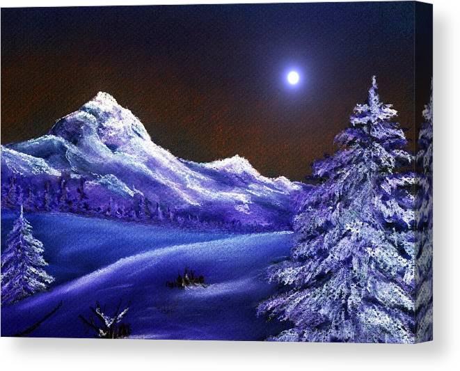 Moon Canvas Print featuring the painting Cold Night by Anastasiya Malakhova