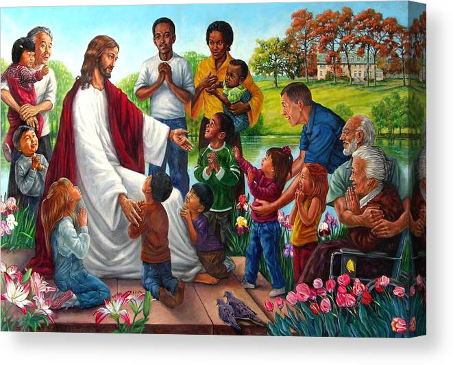 Children Canvas Print featuring the painting Come Unto Me by John Lautermilch