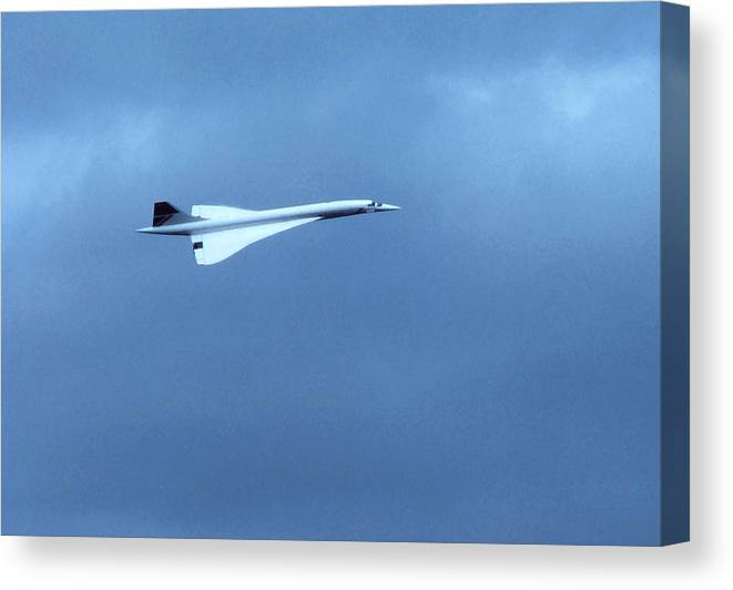 Airplanes; Concorde; Transportation; Flight; Travel; Still Life. Canvas Print featuring the photograph Concorde In Flight Beauty by Robert Rodvik
