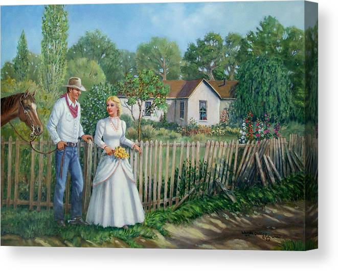Cowboy Canvas Print featuring the painting Cowboy And The Lady by Wanda Coffey