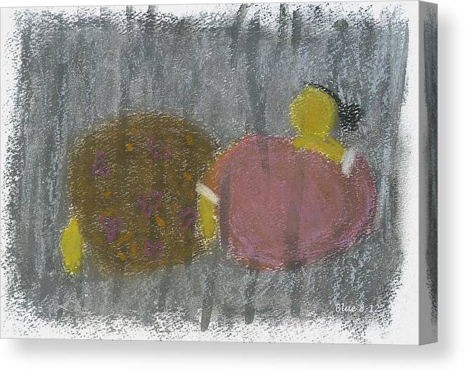Fat Canvas Print featuring the pastel Fat Lady by Kartika Anderson