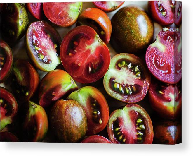 Tranquility Canvas Print featuring the photograph Freshly Cut Tomatoes by Jamie Grill