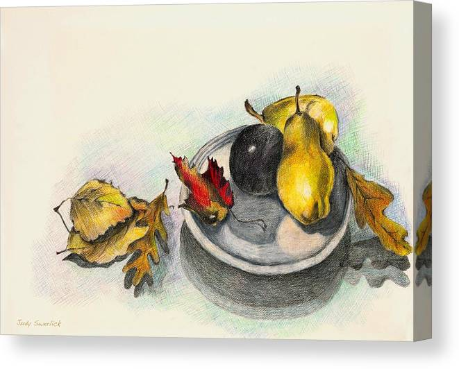 Fruit Canvas Print featuring the drawing Fruit And Autumn Leaves by Judy Swerlick