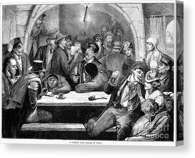 1875 Canvas Print featuring the photograph Germany: Beer Cellar, 1875 by Granger