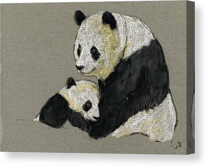 Giant Canvas Print featuring the painting Giant Panda by Juan Bosco