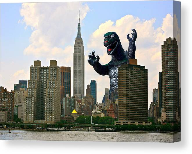 Godzilla Canvas Print featuring the photograph Godzilla And The Empire State Building by William Patrick