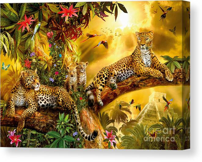 Animals Canvas Print featuring the digital art Jungle Jaguars by MGL Meiklejohn Graphics Licensing
