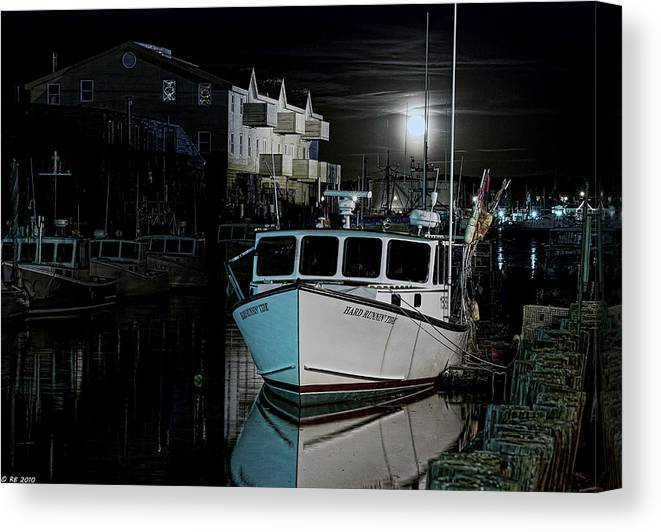 Architecture Canvas Print featuring the photograph Moon Lit Harbor by Richard Bean