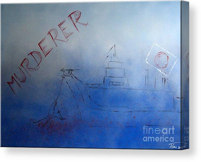 Painting Canvas Print featuring the painting Murderer by Marketa Homayouni