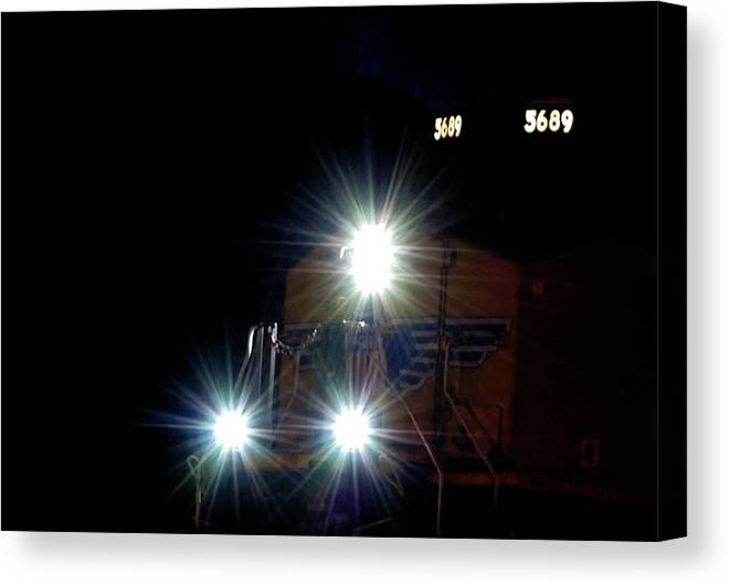 Trains Canvas Print featuring the photograph Night Train - Union Pacific Train Engine by Steven Milner