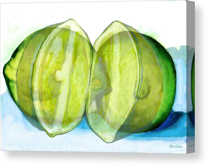 Lemon Slice Canvas Print featuring the painting Open Up The Sour by Richard Glen Smith