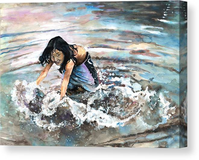 Travel Canvas Print featuring the painting Polynesian Child Playing With Water by Miki De Goodaboom
