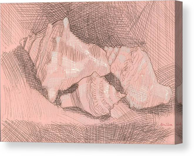 Silverpoint Canvas Print featuring the painting Shellball Huddle by Richard Glen Smith