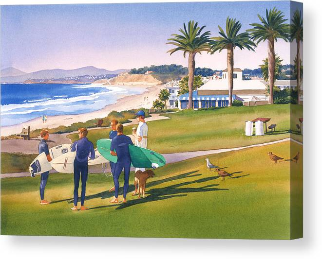 Surfing Canvas Print featuring the painting Surfers Gathering At Del Mar Beach by Mary Helmreich
