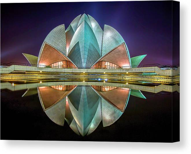 Delhi Canvas Print featuring the photograph The Lotus Temple by Jiti Chadha