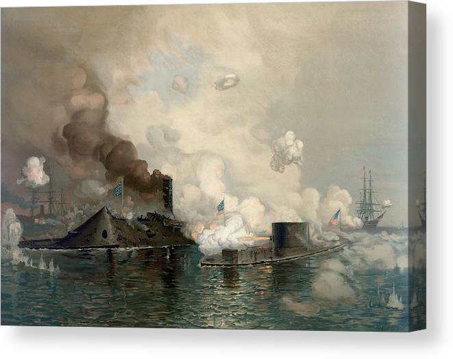 Monitor Canvas Print featuring the photograph The Monitor And Merrimac, 1862 by Science Photo Library