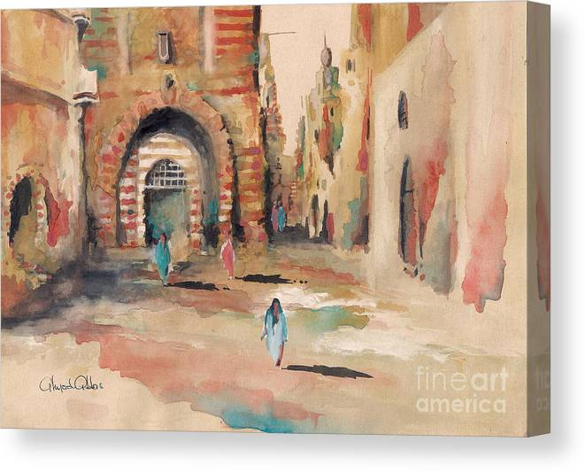 Oriental Paintings Canvas Print featuring the painting Vieille Rue Du Caire 3 by Ahmed Abbas