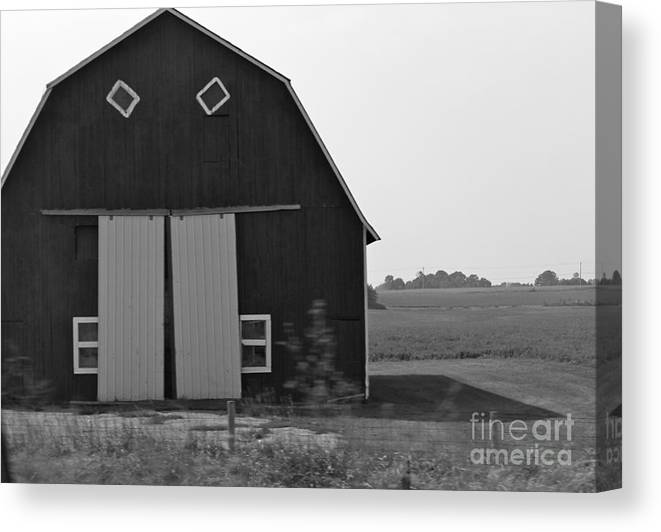Barn Canvas Print featuring the photograph Big Tooth Barn Black And White by Pamela Walrath