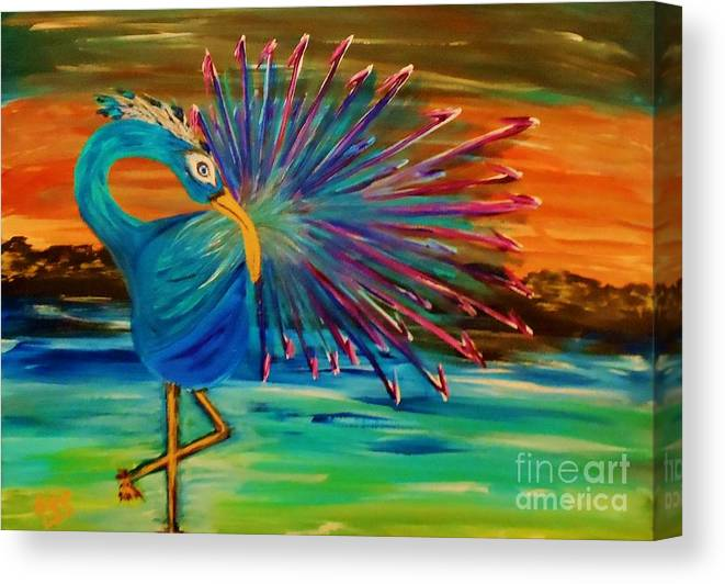 Canvas Print featuring the painting Tropical Peacock by Marie Bulger