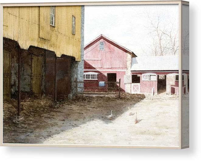 Barn Canvas Print featuring the painting Barn Yard by Steven J White PWS