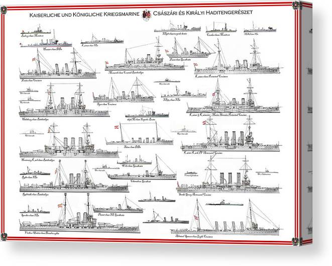 Fleet Canvas Print featuring the painting Austro-hungarian Navy by The Collectioner