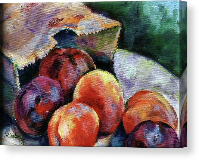 Still Life Painting Canvas Print featuring the painting Bag Of Fruit by Jean Groberg