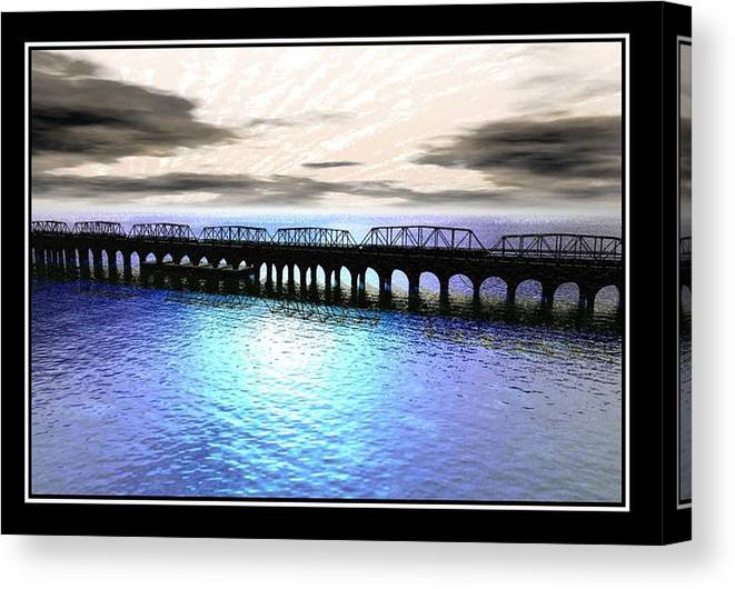 Ballester Bridge Imagination Water Seascape Landscape Abstract Surreal William Ballester Sea Print Abstract Canvas Print featuring the digital art Ballester Bridge by William Ballester