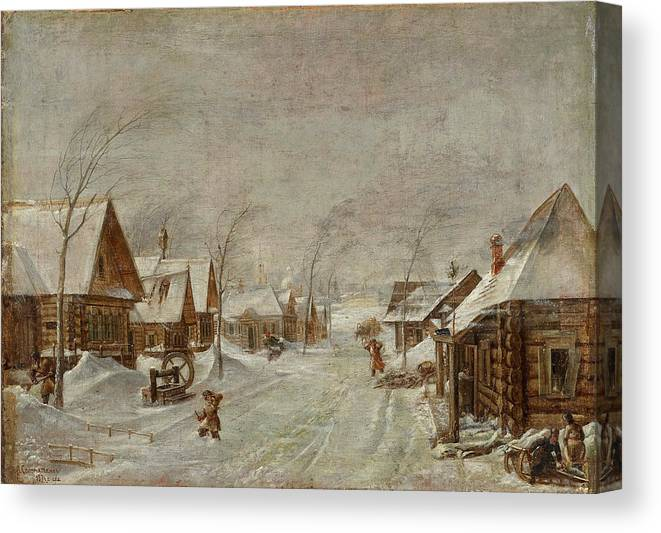 Leonid Ivanovich Solomatkin Canvas Print featuring the painting Blizzard by Leonid Ivanovich Solomatkin