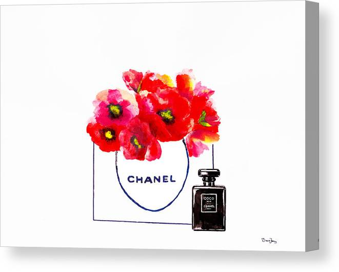 c65123378cb Chanel Bag Canvas Print featuring the painting Chanel Bag With Red Poppy  Flower by Del Art