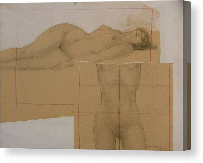 Nude Canvas Print featuring the painting Composite Female Nude by Gary Kaemmer